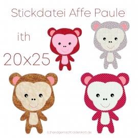 Stickdatei Affe Paule ith 20x25