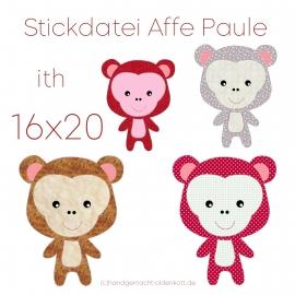 Stickdatei Affe Paule ith 16x20