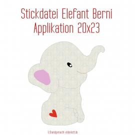 Stickdatei Applikation Elefant Berni 20x23