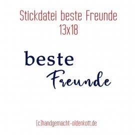 Stickdatei beste Freunde 13x18