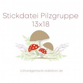Stickdatei Pilzgruppe 13x18