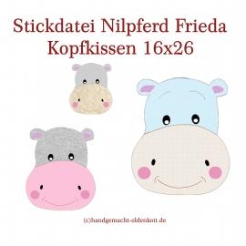 Stickdatei Nilpferd Frieda Kopfkissen ith 16x26