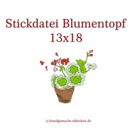 Stickdatei Blumentopf 13x18